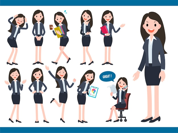 Businesswoman character collection, lovely office worker in different actions and facial expression