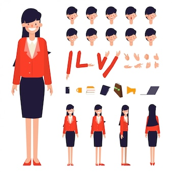 Businesswoman character creation animated.