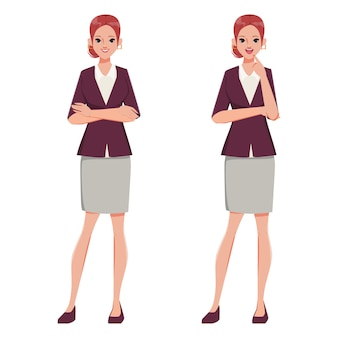 Businesswoman character crossing arms and thinking pose. office suit clothes. people in occupation working.