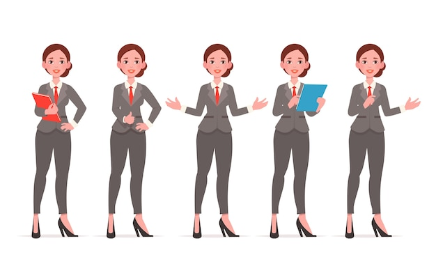Businesswoman character. different poses set.