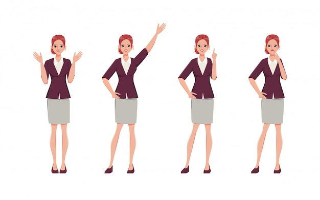 Businesswoman character emotions face and different pose. office suit clothes. people in occupation working.