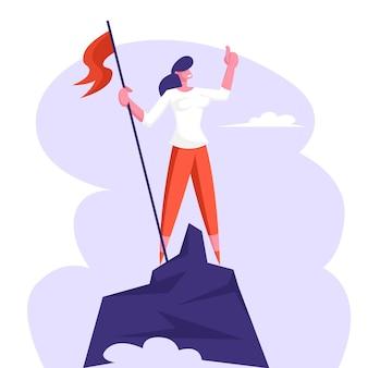 사업가 문자 게양 산 위에 붉은 깃발