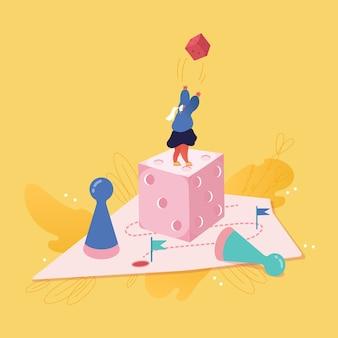 Деловая женщина персонаж играет в кости. бизнес-планирование, риск и концепция стратегии. люди женщины играют в настольную игру, успех, конкуренция и лидерство.