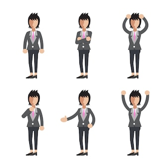 Businesswoman character poses set