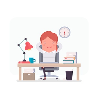 Businesswoman character relaxed in the office
