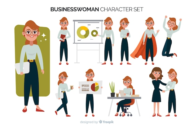 Businesswoman character set