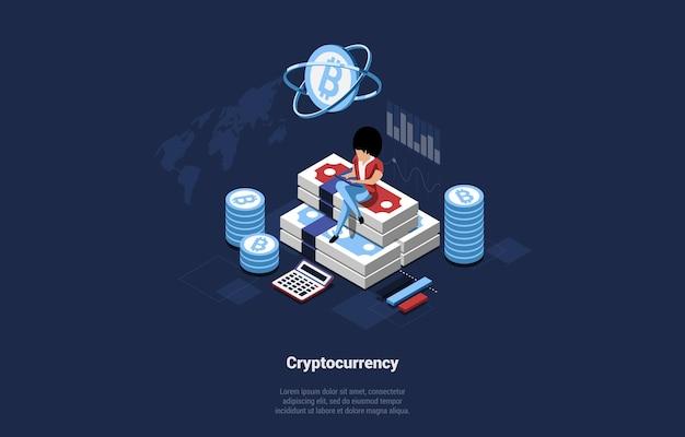 お金の高さ、暗号通貨、漫画の3dスタイルのブロックチェーンイラストに座っている実業家のキャラクター。 Premiumベクター
