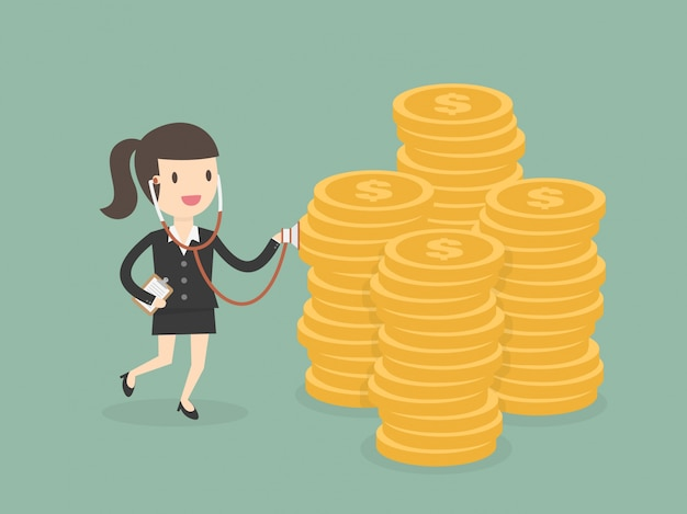 Businesswoman character with money