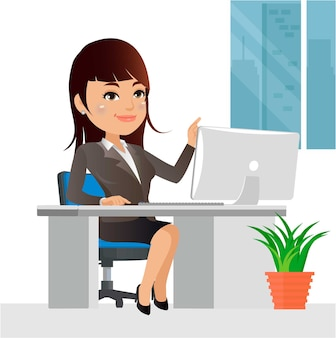 Businesswoman character working on a laptop computer at office desk