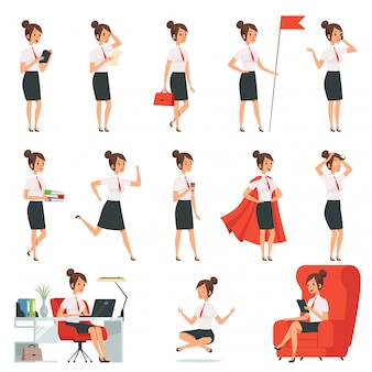 Businesswoman characters. business ladies in various action pose