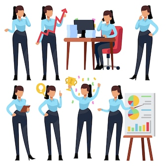 Businesswoman characters. young business woman professional working in office. girl employee cartoon set