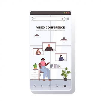 Businesswoman chatting with mix race colleagues during video call busines people having online conference meeting communication concept smartphone screen copy space full length illustration