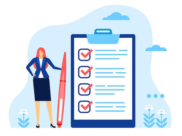 Businesswoman checklist successful woman with huge completed task list and pen vector concept