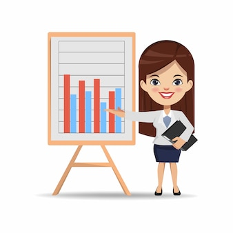 Businesswoman chibi character to presenting a business chart on board.
