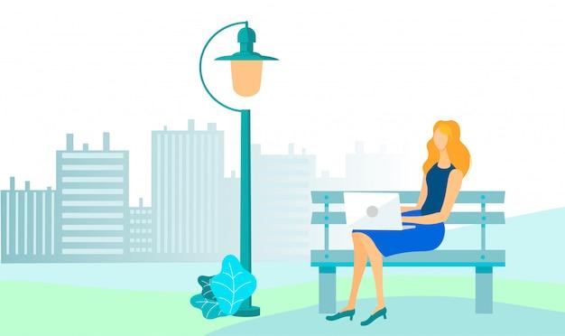 Businesswoman in city park illustration