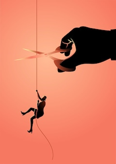 Businesswoman climbing on rope meanwhile a giant hand with scissors is cutting the rope