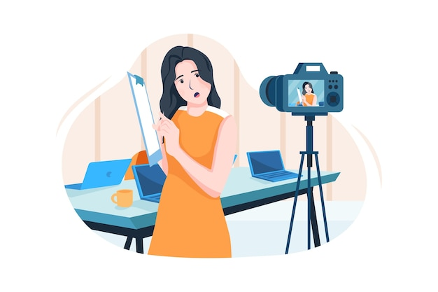 ビデオカメラの前でオンラインでコーチングする実業家