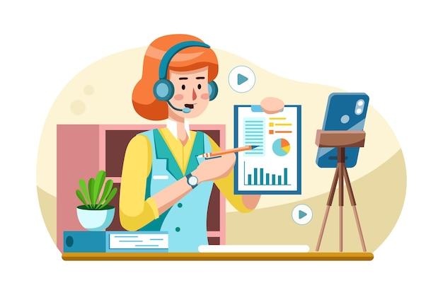 Деловая женщина тренирует онлайн перед видеокамерой.