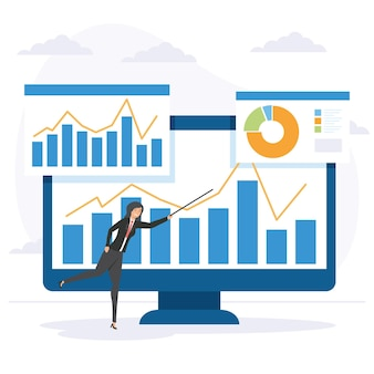 Businesswoman and computer with infographics