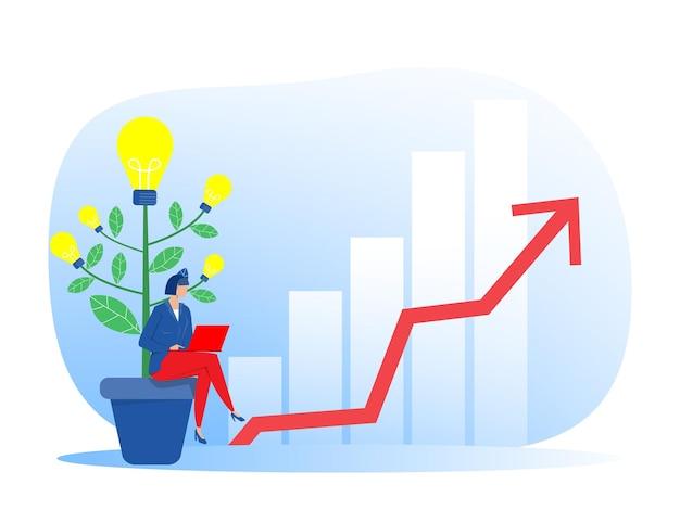 Бизнесвумен создала идею со стрелкой в цели, концепция достижения целей