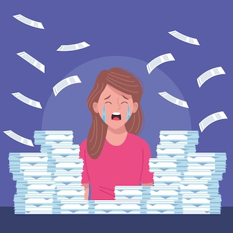 Businesswoman crying extressed with pile documents  illustration