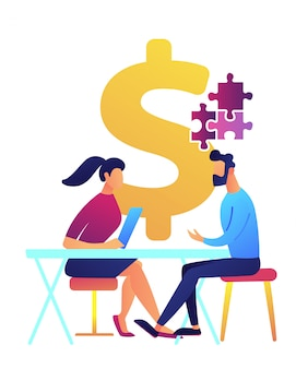 Businesswoman at desk helps businessman solve puzzle vector illustration.