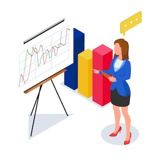実業家は、3 dグラフでプレゼンテーションを行います。