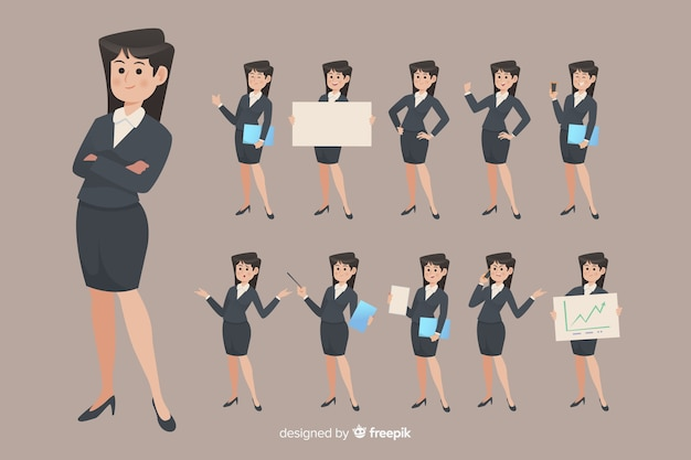 Businesswoman doing different actions