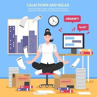 Businesswoman doing meditation flat illustration
