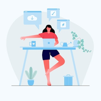Businesswoman doing yoga to calm down the stressful emotion from hard work in home backside desk with business process icons