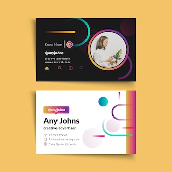 Businesswoman double-sided horizontal business card template