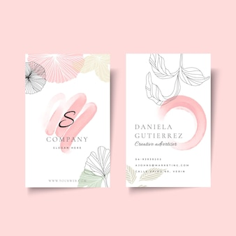 Businesswoman double-sided vertical business card template