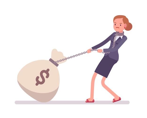 Businesswoman dragging a giant heavy money sack