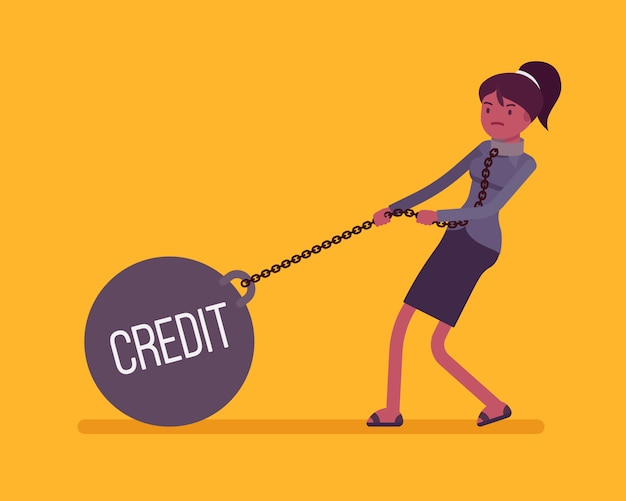 Businesswoman dragging a weight credit on chain