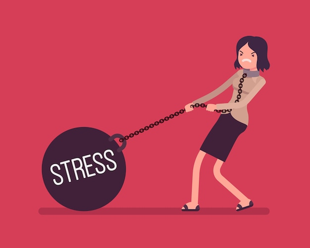 Businesswoman dragging a weight stress on chain