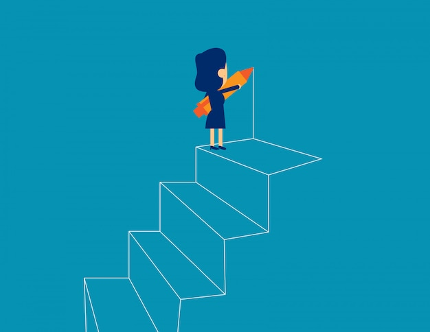 Businesswoman drawing outline of steps