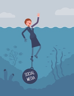 Businesswoman drowning chained with a weight social media