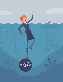 Businesswoman drowning chained with a weight taxes