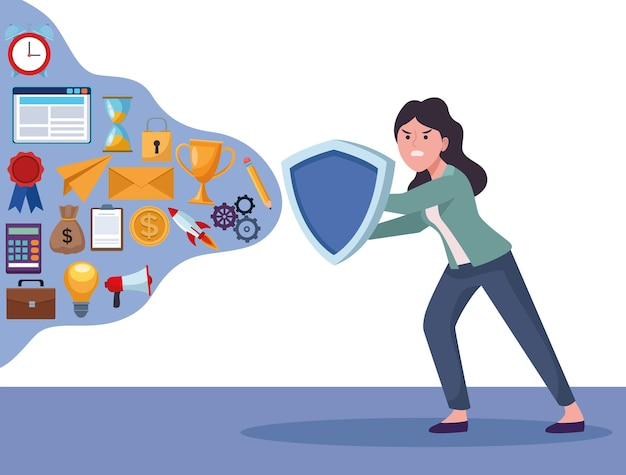 Businesswoman extressed with shield and information overload set icons  illustration