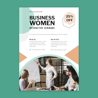 Businesswoman flyer design template
