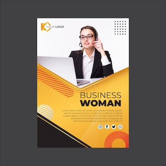 Businesswoman flyer vertical template