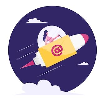 사업가 유리 돔 및 전자 메일 서명으로 오두막에 앉아 로켓에 공간으로 비행