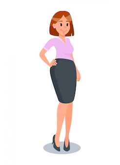 Businesswoman in formal clothes flat illustration