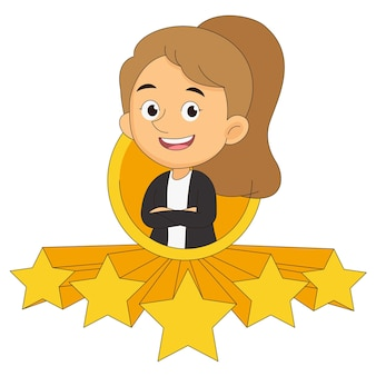 Businesswoman give a five star to rating