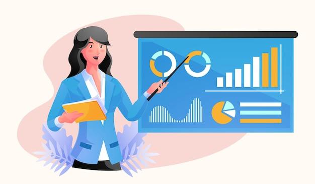 사업가 데이터로 보고서 프레젠테이션 제공