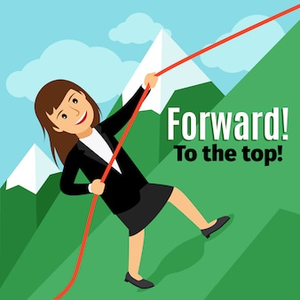 Businesswoman going forward to the top of the mountain