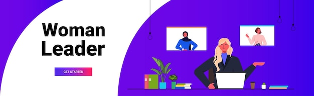 Businesswoman having group video call with female colleagues in web browser windows businesswomen discussing during online conference horizontal portrait copy space vector illustration