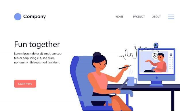 パートナーまたは同僚とのオンライン会議を持つ実業家。ウェブサイトテンプレートまたはランディングページ
