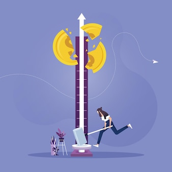 実業家が1ドル硬貨にハンマーで成功テスターマシンを打つ