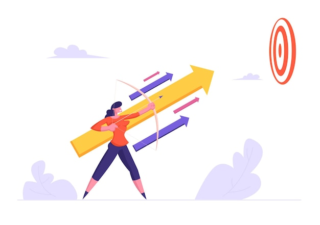 Businesswoman holding bow aiming arrow to target up in sky